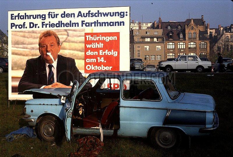 Oktober 1990,  Erfurt,  Thueringer Landtagswahl