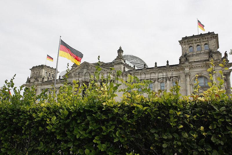 Ungeschnittene Hecke vor dem Reichstag