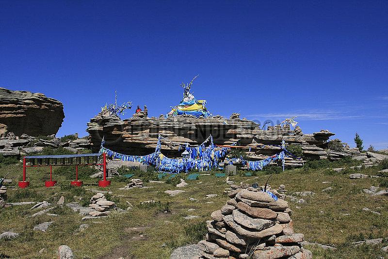 Ovoo in der Mongolei