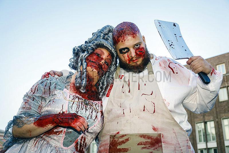 Zombiewalk an Halloween,  Essen,  Ruhrgebiet,  Nordrhein-Westfalen,  Deutschland