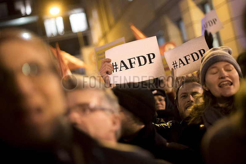 Demonstration against FDP and AfD,  Thuringia election