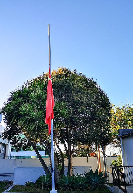 AUSTRALIEN-AUCKLAND-COVID-19-Generalkonsulat CHINA-NATIONAL FLAG-halbmast