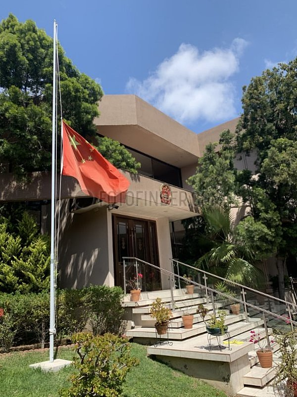 MEXIKO-TIJUANA-COVID-19-chinesisches Konsulat-GENERAL-NATIONAL FLAG-halbmast