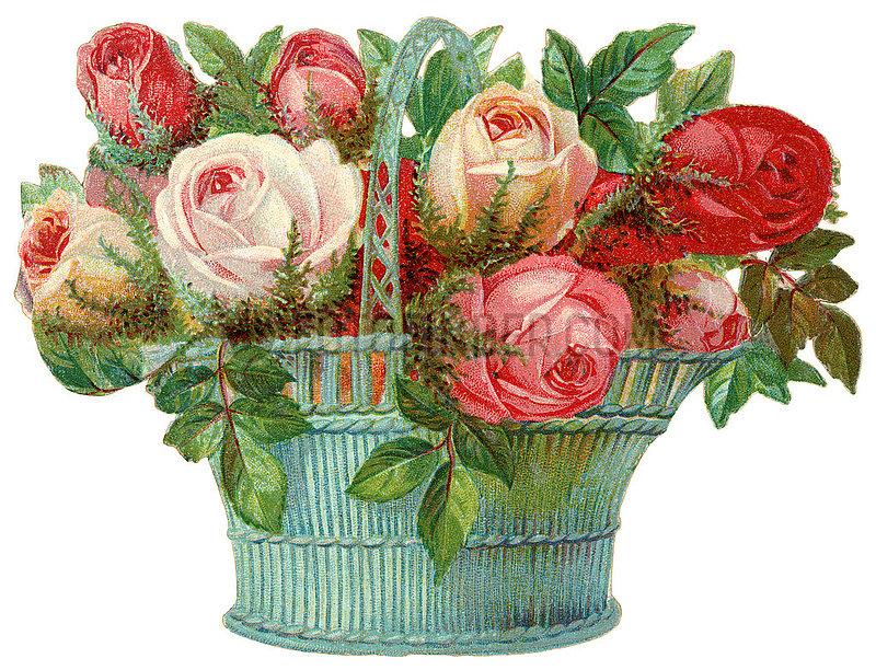 sehr dekorativer Rosenkorb,  Poesiebild,  1898