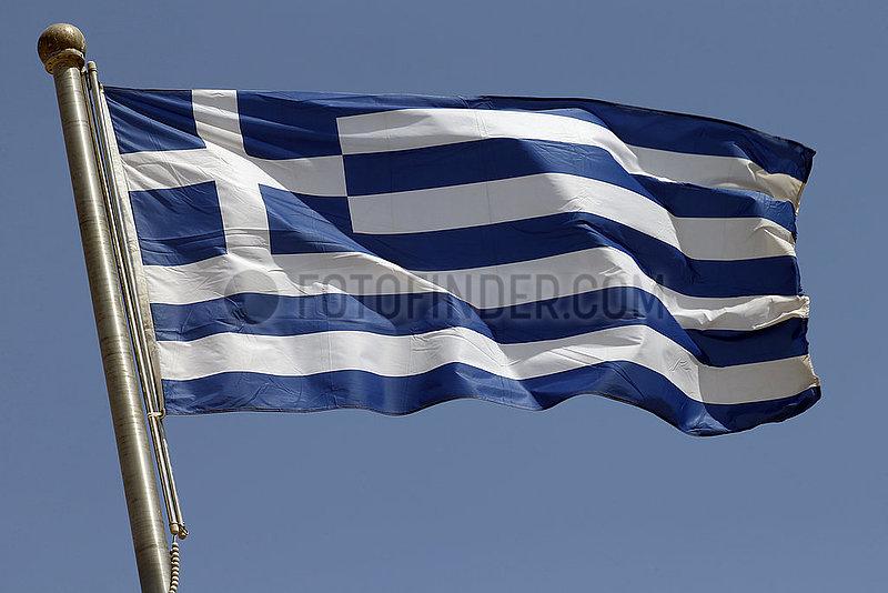 Berlin,  Deutschland,  Nationalfahne von Griechenland