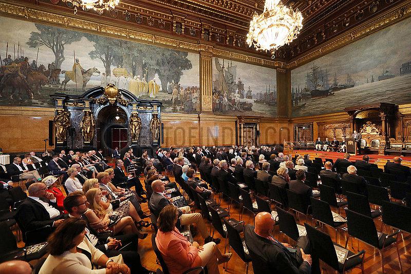 Hamburg,  Senatsempfang anlaesslich des IDEE 150. Deutschen Derby im Festsaal des Hamburger Rathaus