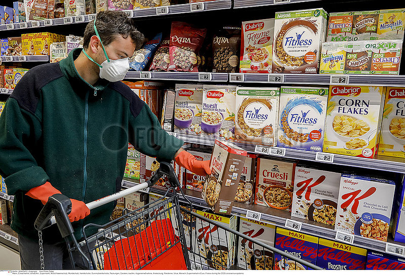 Supermarket in Eure,  France during the 2020 coronavirus epidemic