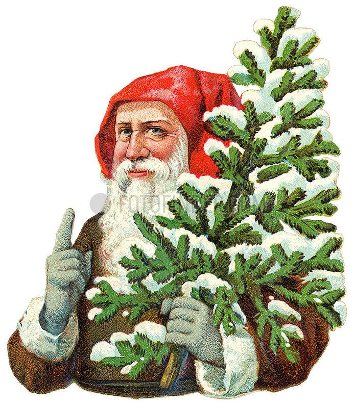 Nikolaus,  Weihnachtsmann,  Poesiebild,  1898