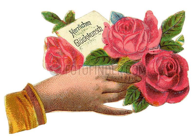 Herzlichen Glueckwunsch,  Hand mit Rose,  Poesiebild,  1900