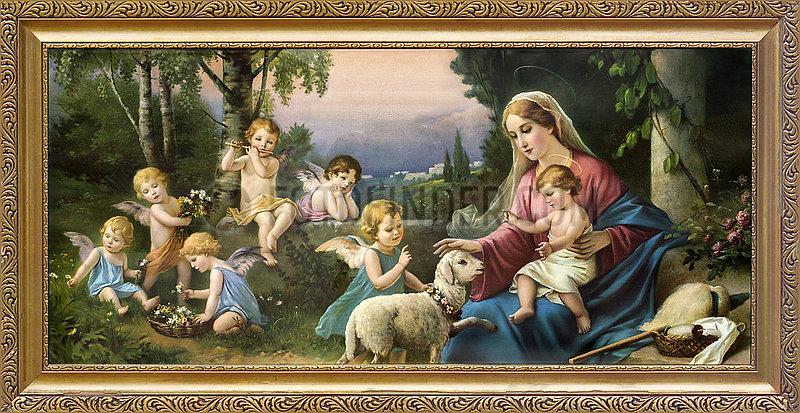 Muttergottes mit Jesuskind und Engelchen,  Kitschbild,  um 1925