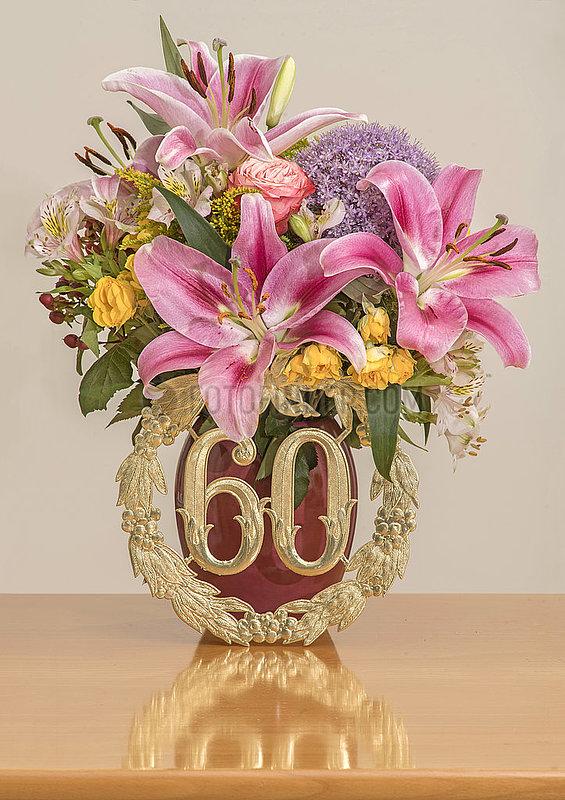 Geburtstagsstrauss,  60. Geburtstag,  Dekoration