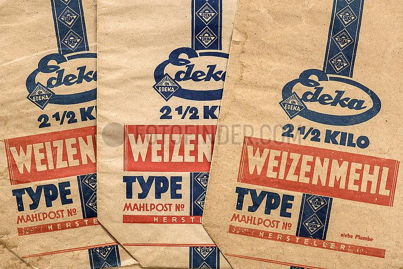 alte original Edeka Papiertueten fuer Weizenmehl,  1929