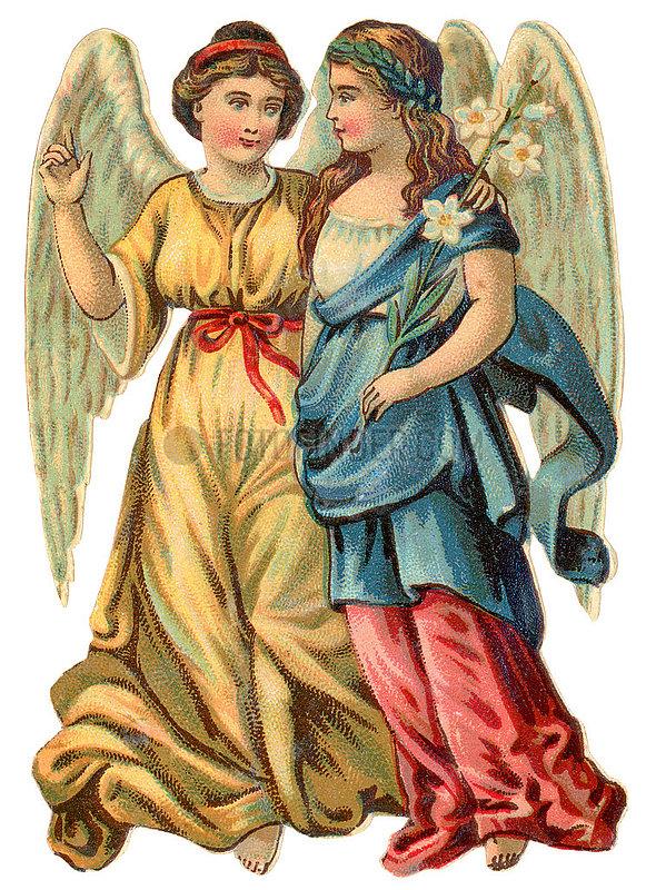 zwei Engel,  Poesiebild,  1898