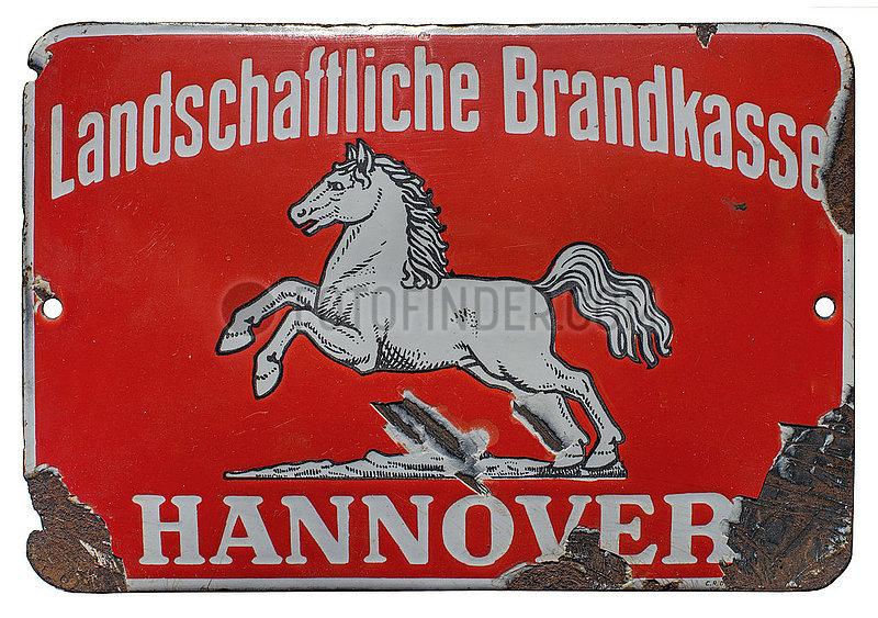 altes original Versicherungsschild,  Landschaftliche Brandkasse Hannover,  1929