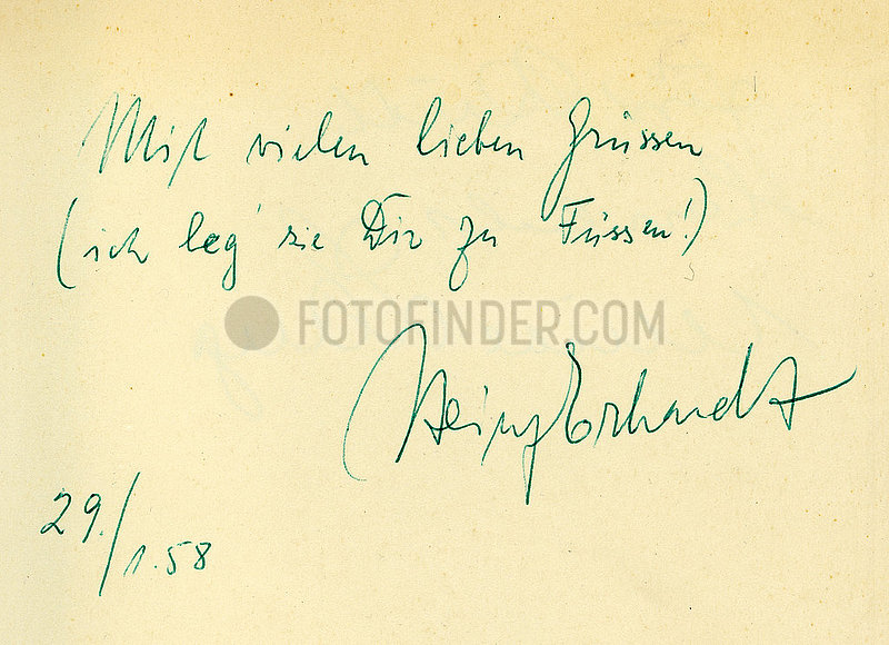 Heinz Erhardt,  Humorist,  Autogramm mit Widmung,  1958