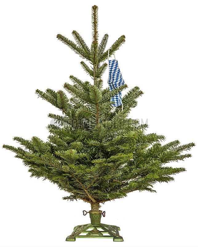 Christbaum,  Tanne,  symbolisch mit bayerischem Mundschutz,  Dezember 2020