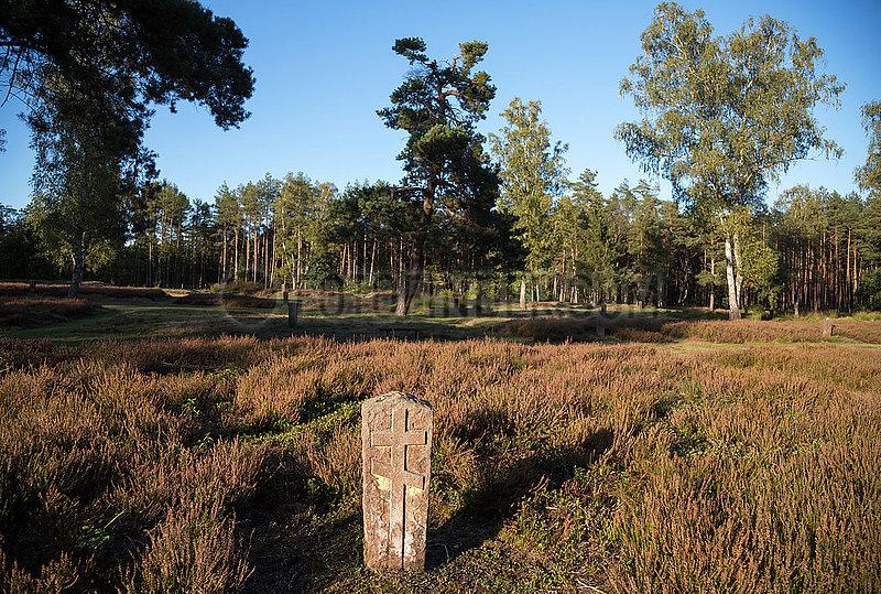 Deutschland,  Lohheide - Kriegsgefangenfriedhof der Gedenkstaette Bergen-Belsen. Hier liegen sowjetische Soldaten,  die die Nazis zu Tode gequaelt haben