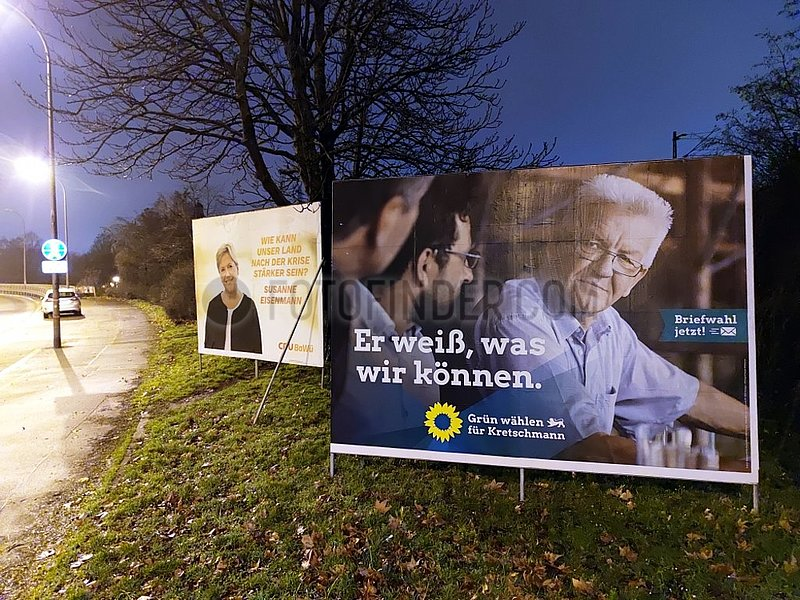 Wahlplakate zur Landtagswahl in Baden-Wuerttemberg 2021