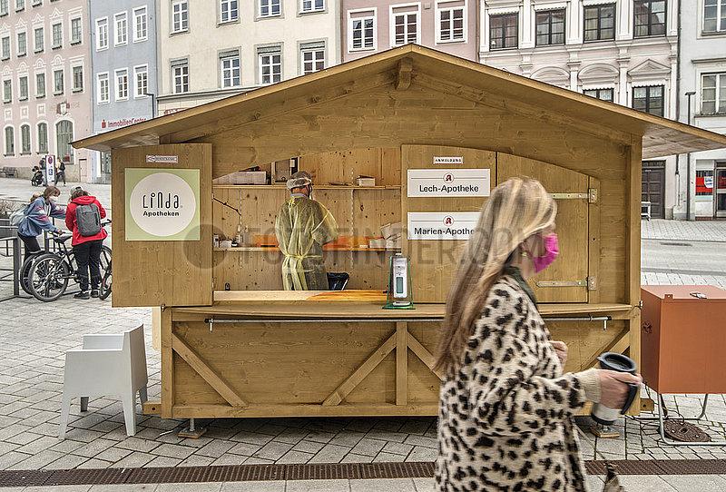 Angebot kostenloser Schnelltests,  Landsberg am Lech,  April 2021