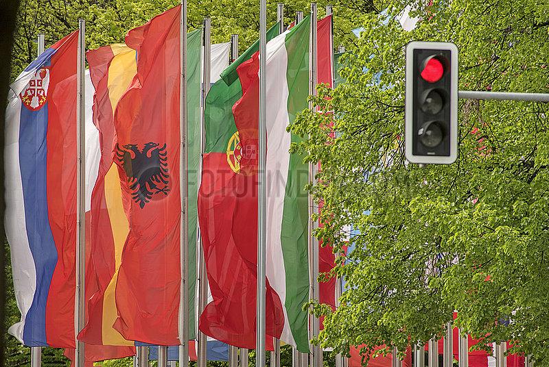 Europaeische Laenderflaggen,  Muenchen,  Mai 2021