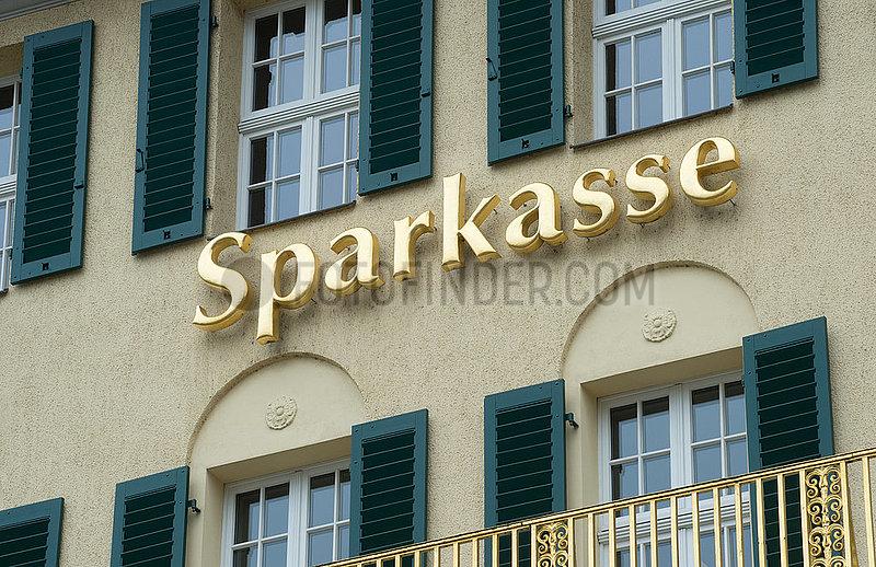 Dresden,  Deutschland - Schriftzug Sparkasse an einer Fassade