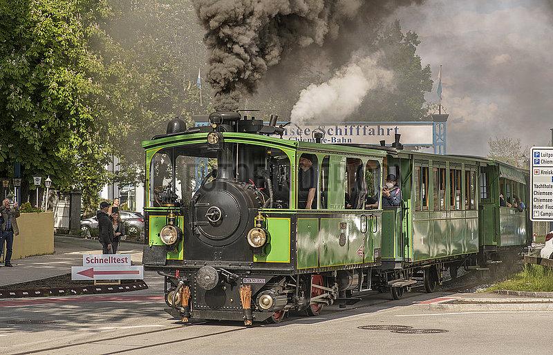 historische Chiemsee-Bahn in Prien,  Mai 2021