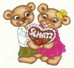 Gluecksbaerchen Serie Paerchen Herz Lebkuchen verliebt