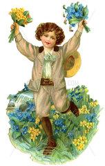 Junge mit Blumenstraeussen  1895