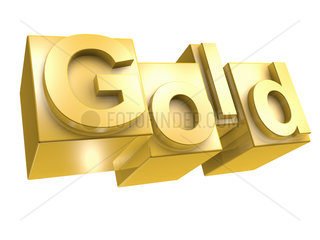 The word GOLD in golden 3D Letters on white
