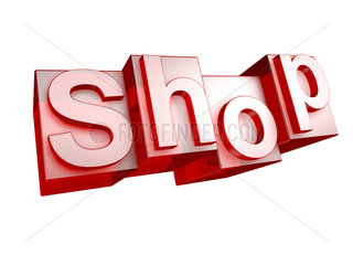 The word SHOP in 3D Letters on white