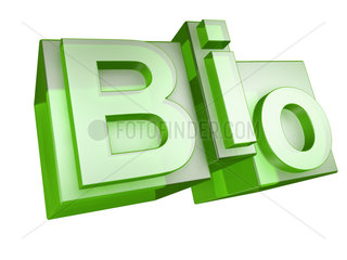 The word BIO in green 3D Letters on white
