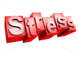 The word STRESS in 3D Letters on white