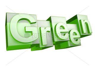 The word green in green glass letters on white