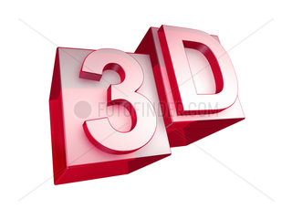 The word 3D in red 3D Glass Letters on white