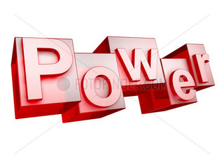 The word POWER in 3D Letters on white