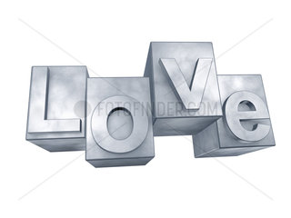 The word LOVE in 3D Letters on white