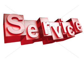 The word SERVICE in 3D Letters on white