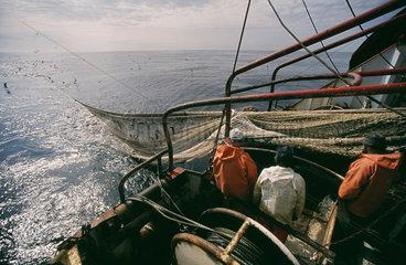 Arbeiten an Bord eines deutschen Fischtrawlers im Atlantik