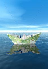 Euro paper boat ship - Papierschiff aus Euros