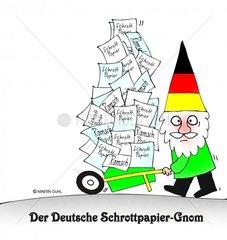 deutscher schrott papier schubkarre gnom
