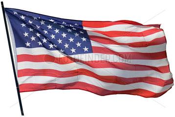US-Fahne flattert im Wind