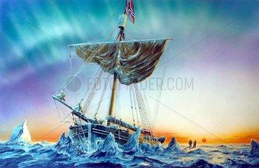 Forschungssegelschiff Gjoea Amundsen im Polareis