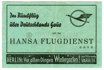Flugschein Hansa Flugdienst 1939  Berlin