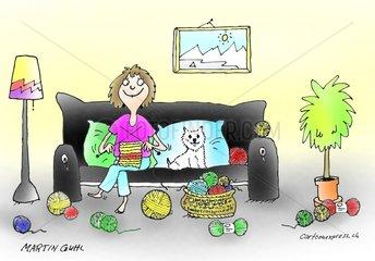 heim wohnung hund sofa stricken ledig