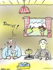 hotel gast einheimischer tourist stammtisch restaurant anpassen fremder