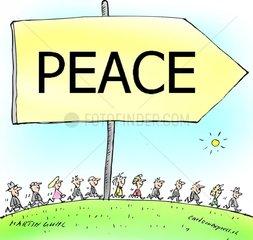 peace frieden leute eine richtung zusammen demo