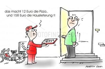 pizza kurier fastfood rechnung lieferdienst