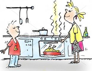 kochen ofen braten h__hnchen k__che mutter kind