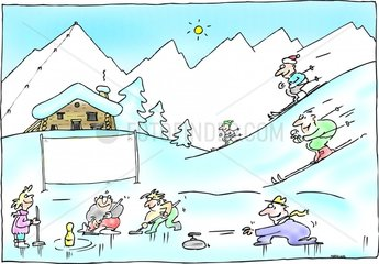urlaub ferien wintersport ski curling