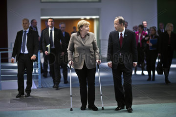 UN Secretary General Ban Ki-Moon meets Merkel